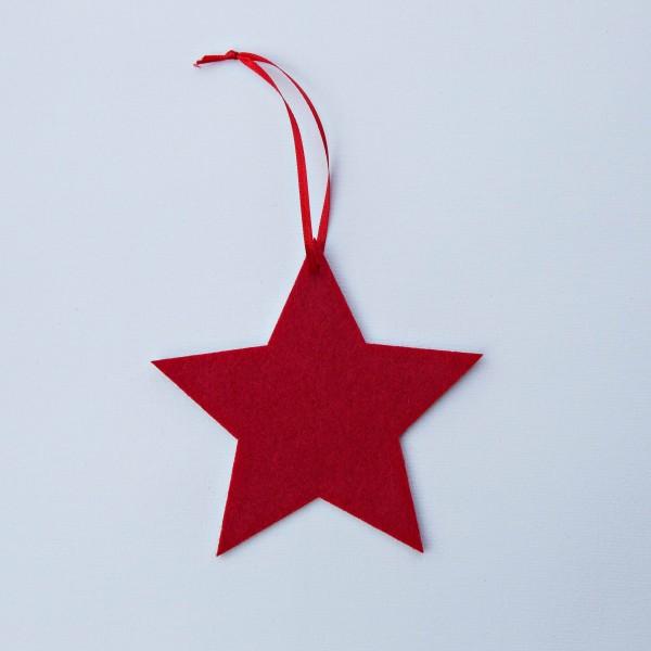 Stern, Filz, rot, 12 cm, zum Hängen