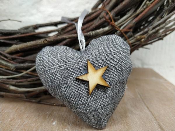 Herz, Stoff, grau, mit Holzstern