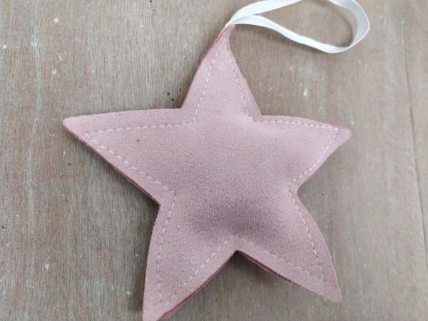 Stern, Stoff, rosa, zum Hängen, 11 cm