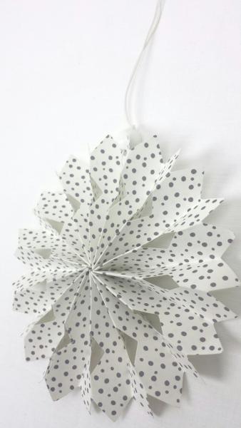 Schneeflocke, Papier, weiß, graue Punkte, 14 cm, zum Hängen
