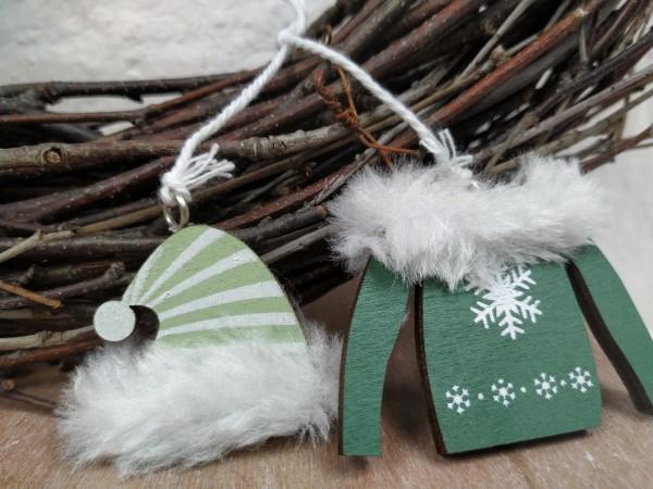 Jacke/Mütze, Holz, grün, zum Hängen