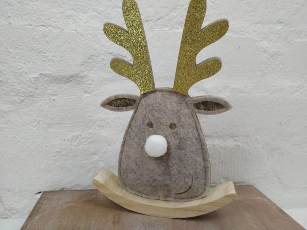 Elchkopf auf Wippe, grau, Filz, Holz, H 24 cm