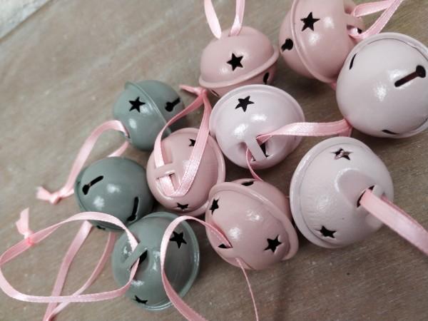 Glöckchen, 10 Stück, rosa, grau, zum Hängen