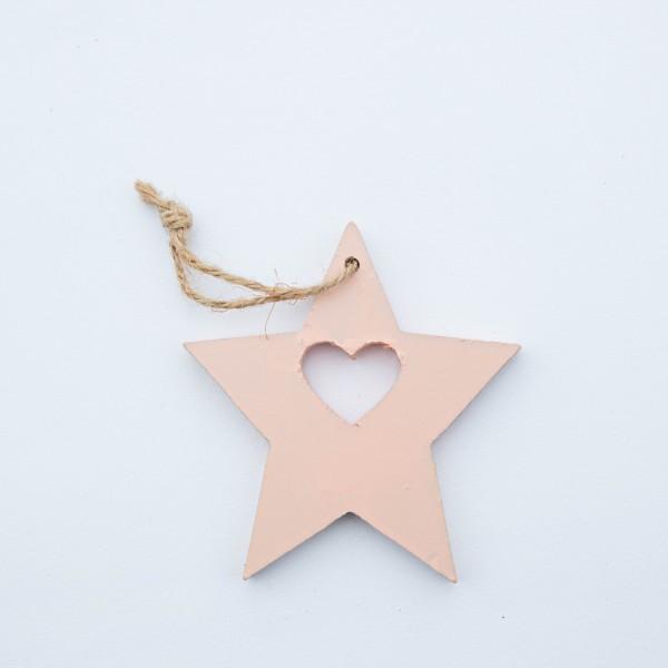 Stern, Holz, rosa, 10x10x1 cm, zum Hängen